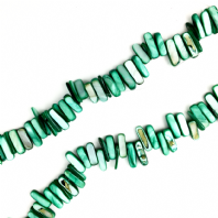 16 Inch Shell 14-20mm Stick Beads Green